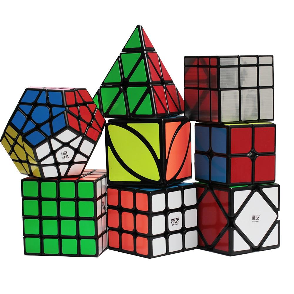 D-fantix Zcube 8 pièces Cube magique Set 2x2x2 3x3x3 4x4x4 Dodecahedron écheveau FengYe écheveau pyramide miroir vitesse Cubes autocollant foncé