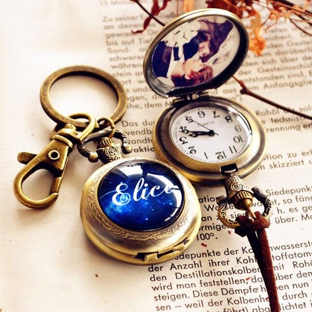 Ms Retro Male Keychain Pocket Watch Necklace Custom Name Photo Flip Couple Girlfriends Birthday Gift Ideas