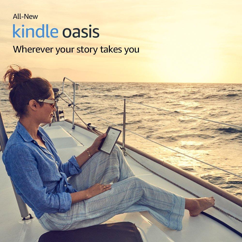 Полностью Новый Kindle Oasis 8 ГБ, E-reader-7-дюймовый дисплей высокого разрешения (300 ppi), водонепроницаемый, встроенный звуковой, Wi-Fi