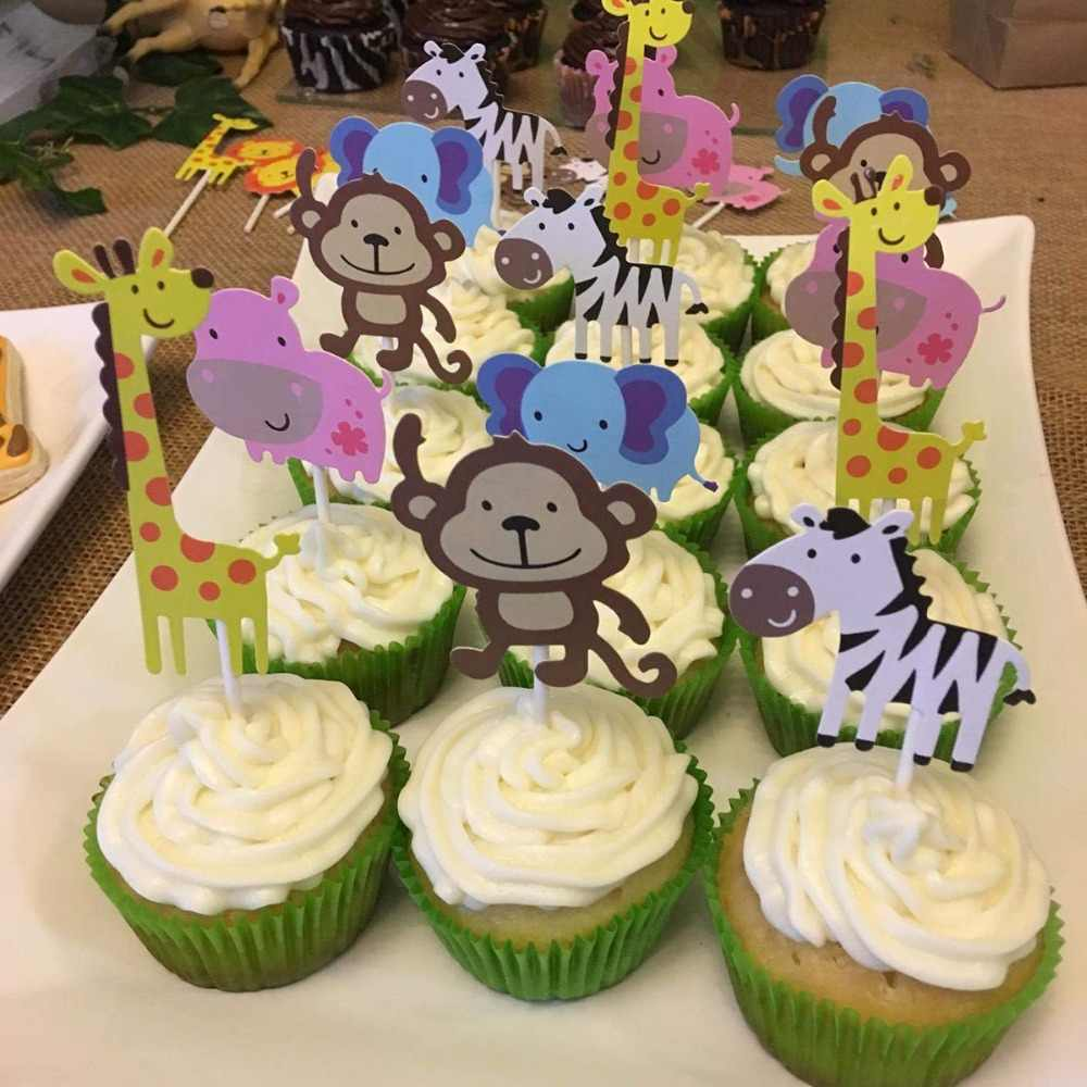 Lincaier 14pcs Safari Jungle Animal Cupcake Toppers Birthday Cake Topper Party Decoration Supplies Kids Baby Shower
