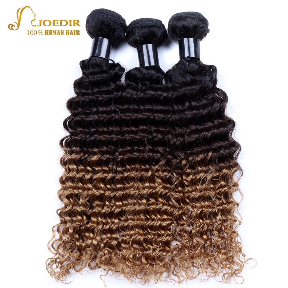 Joedir Malaysian Deep Curly Hair Weave Bundles Ombre Human Hair Extensions for Women T1B/4/27 Remy Hair Weft 3 Bundles Deals