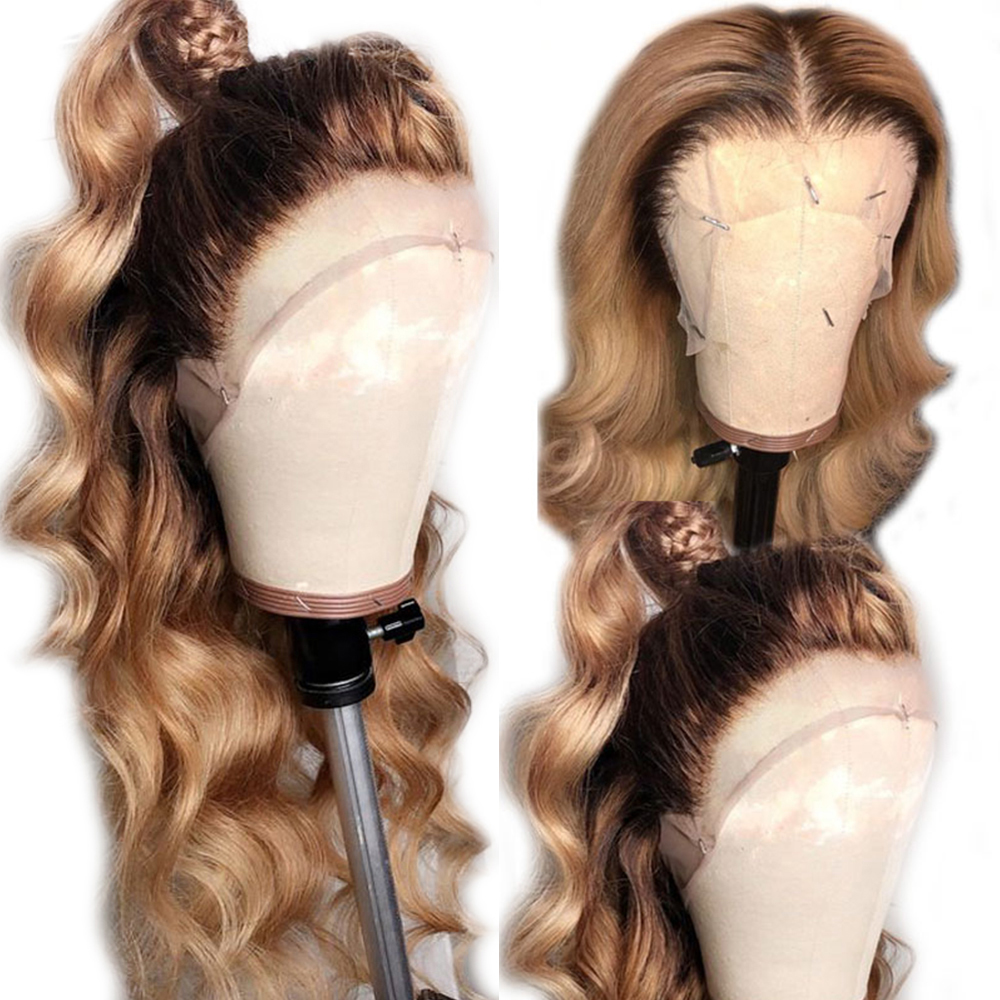 Eversilky 4t27 13x6 Lace Front Human Hair Wigs For Women Ombre Blonde Brazilian Body Wave Remy