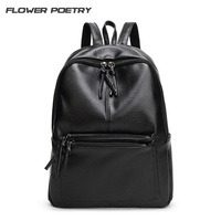 2016 Brand Designer Women Simple Style Backpack Fashion PU Leather Black School Bag For Girls Large