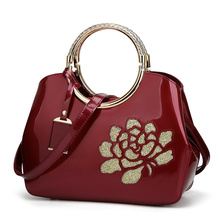 Fashion Women Bags Sequin Embroidery Luxury Patent Leather Design Handbag Paint Bright Skin portable Messenger