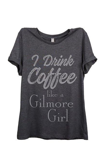 Mulheres t-shirt Café Gilmore Girls Womens Relaxado T-Shirt Tee