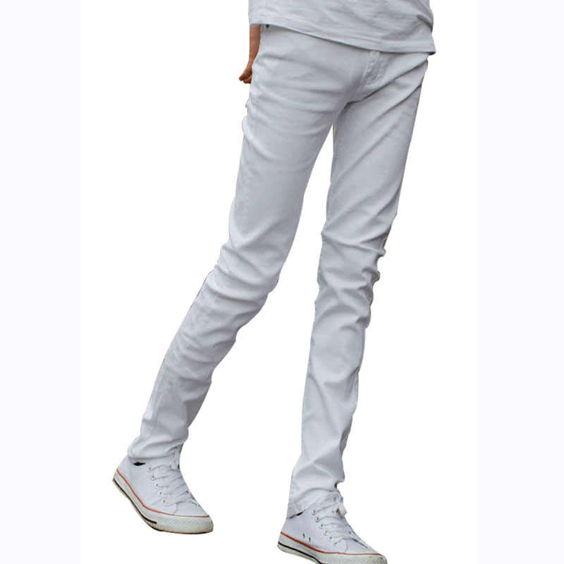8e946f08f184 Funky Mens Fashion Skinny Jeans Pencil Pants Elastic Washed Faded Slim Fit  Brand Clothing White Jeans