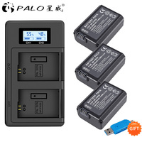 3pcs 2000mAh NP FW50 NP FW50 Camera Battery + LCD USB Dual Charger for Sony Alpha a6500 a6300 a6000 a5000 a3000 NEX 3 a7R
