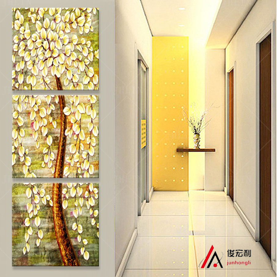 3 piece stereoscopic money tree canvas oil painting print corridor ...