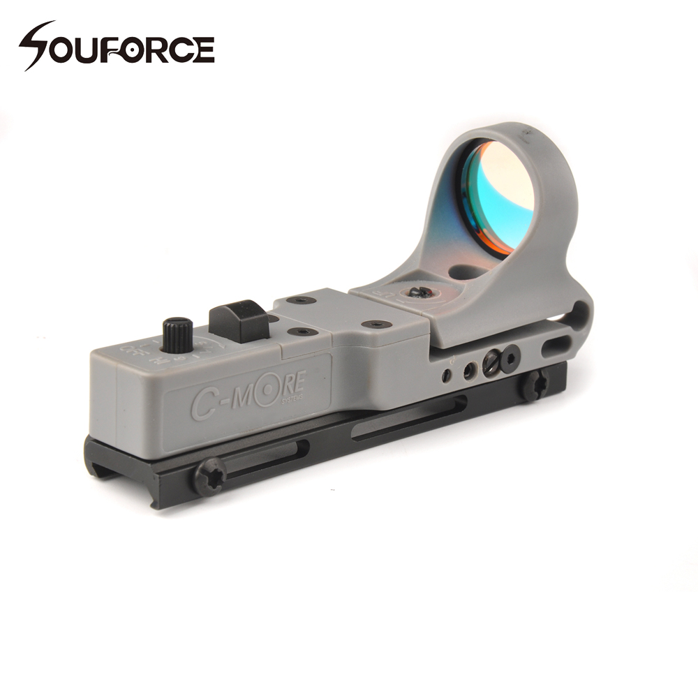 9 Brightness Control C-MORE Adjustable Tactical Hunting Red Dot Sight Airsoft Hunting Collimator Sight Railway Reflex Sight c more style red dot sight railway reflex for ris rail 4 color options free shipping