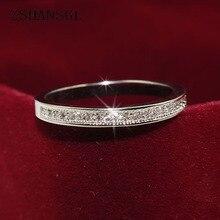 Классические 925 пробы, серебряные кольца, высокое качество, Круглые, прозрачные, ослепительные, CZ геометрические, штабелируемые кольца для женщин, свадебные ювелирные изделия, подарок