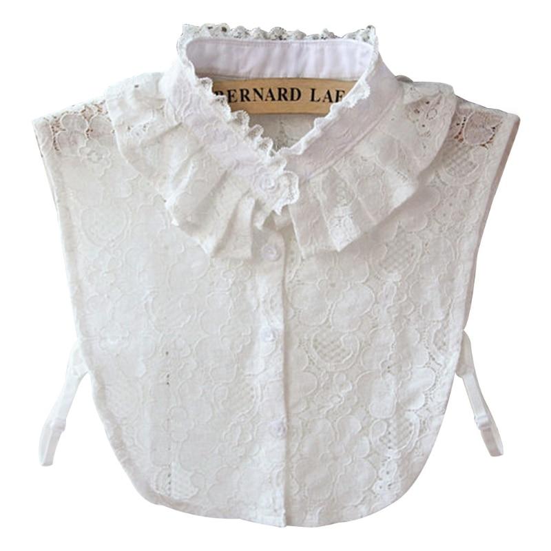 THINKTHENDO Women Pure Color Lace Detachable Lapel Choker Necklace Shirt Fake False Collar
