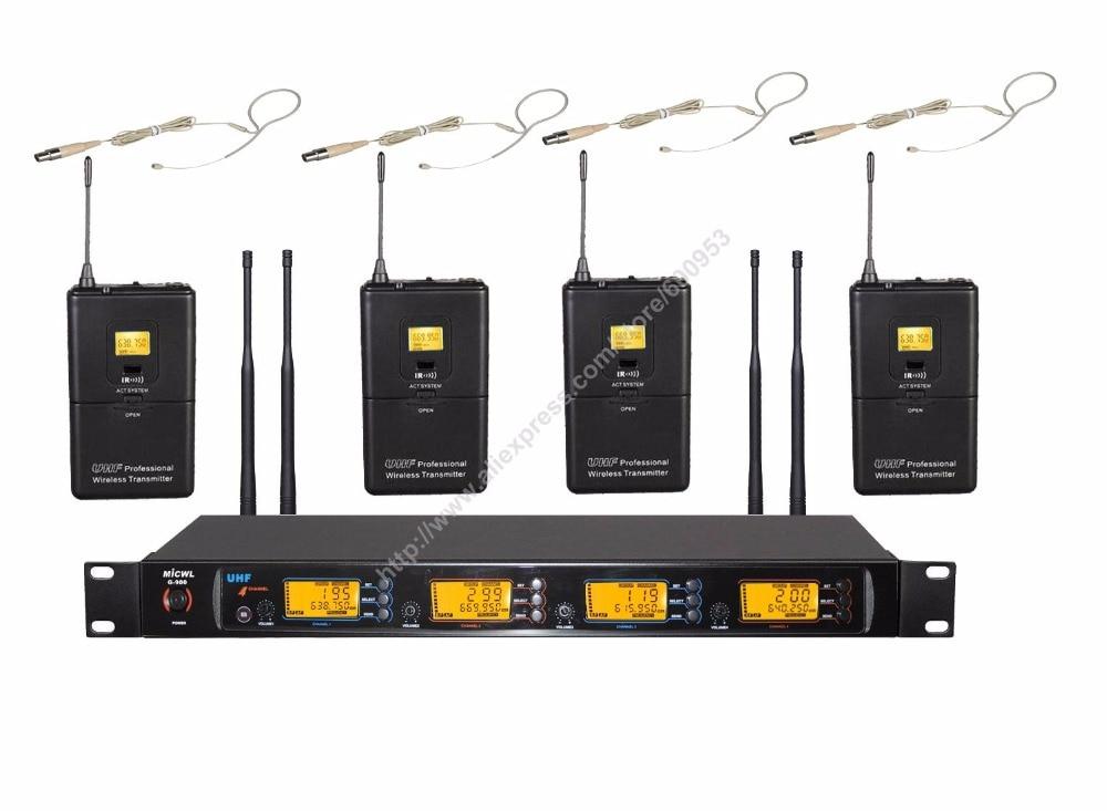 PLL 4 Skin One Hook Headset UHF 4 Channel Wireless DJ & Karaoke Microphone Mic System TS333 радиосистема samson synth 7 uhf headset