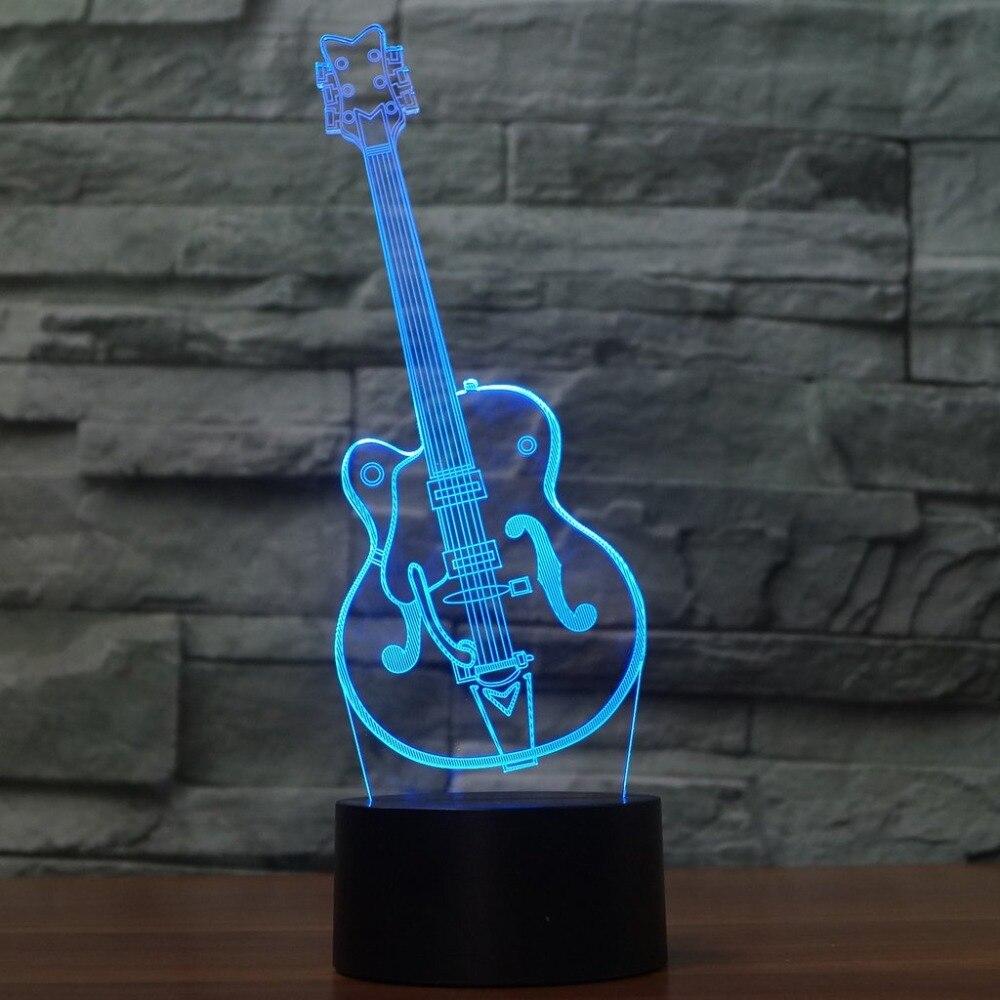 3D светодиодный сенсорный кнопку Мода Visual художественный гитара Форма атмосфер Настольный светильник 7 цветов Изменение Ночная декор Освещ…