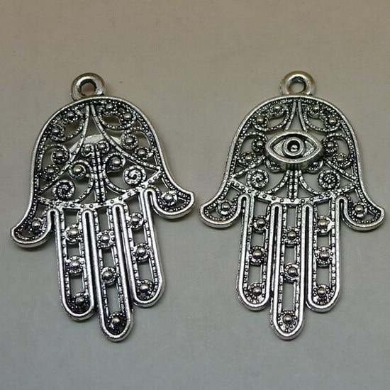 b9af9ced3aa0 20 unids lote 42 28mm plateado plata antigua HAMSA mano encantos para la  pulsera y el collar de DIY