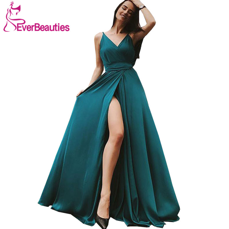 Dark Green   Evening     Dress   Long 2019 V-Neck Side Slit Prom Party Gowns Long Spaghetti Straps Robe De Soiree