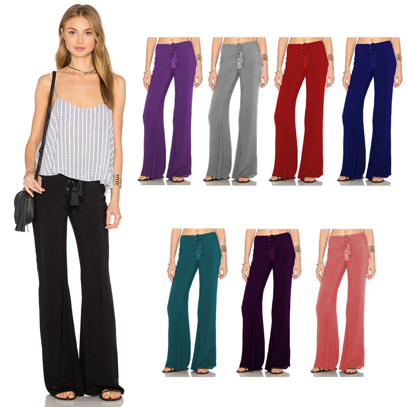 Women Solid Flare Pants Bell Bottom Trousers High Waist Casual Loose Trousers in Pants amp Capris from Women 39 s Clothing