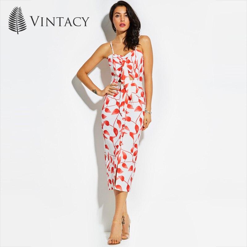 Vintacy Sexy Midi Dress Women Spaghetti Dresses Backless