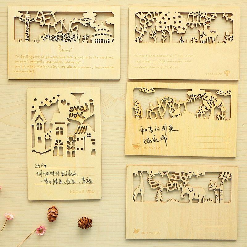 Executive College Stationery Note Cards: 6 Pcs/Lot Wood Post Card Forest Animal Greeting Cards Cute