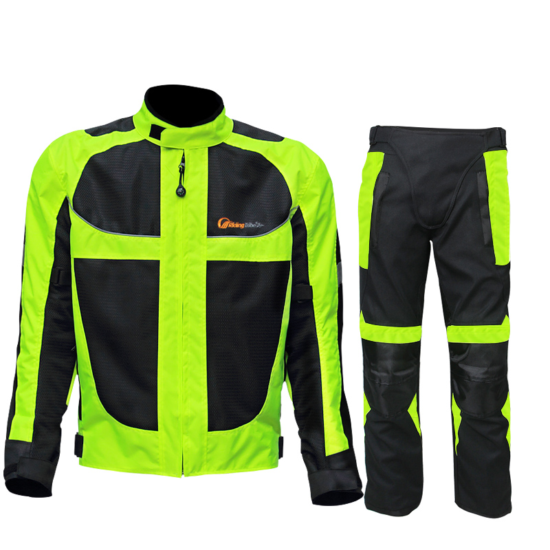 Reiten Tribe Sommer/winter Motorrad Atmungsaktive Mesh Moto Schutz Jacke Männer Reflektierende Racing Moto Jacken Jersey Hosen GläNzend Jacken