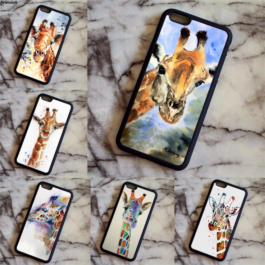 Arsmundi Animale Tpu Nero cell phone bags watercolor giraffe Phone Cases for iPhone 6S 7 8 Plus X Case Soft TPU Rubber Silicone