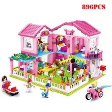896 шт Друзья серии МЕЧТА ВИЛЛА розовый дом строительные блоки Совместимые друзья кирпичи для девочек светящиеся игрушки подарки для детей