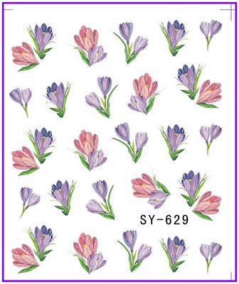 6 PACK/ LOT  GLITTER WATER DECAL NAIL STICKER FLOWER ROSEBUSH TULIP VIOLET SY627-632 free shipping retail new electric bass guitar body in natural color foam box