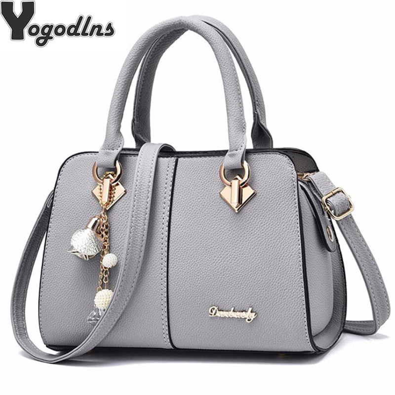 NEW brand women hardware ornaments solid totes handbag high quality lady party purse casual crossbody messenger shoulder bags-in Shoulder Bags from Luggage & Bags
