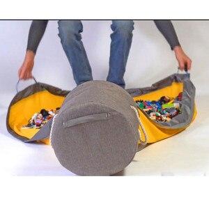 Image 5 - חדש נייד ילדים צעצוע אחסון תיק ולשחק מחצלת לגו צעצועי ארגונית שרוך פאוץ אופנה מעשי אחסון שקיות