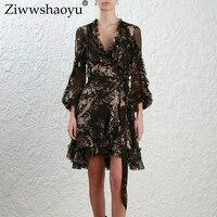 Ziwwshaoyu Европа и Америка 2018 осень высокое качественная одежда V воротник InsideSpaghetti ремень рюшами печати шелковое платье