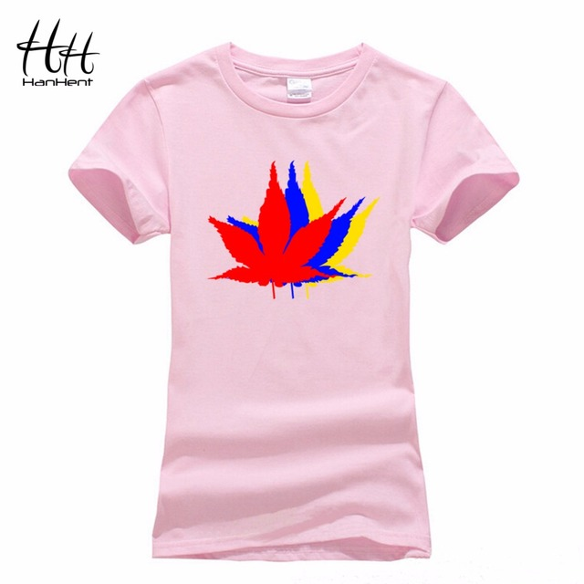 21cd4b095 HanHent Women's Canadian Maple Leaf Short T-Shirt Flower Printed Casual Tee  shirts Canada Basic