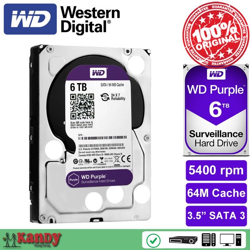 Western Digital WD Purple 6TB hdd NVR system sata 3 5 Surveillance internal hard font b