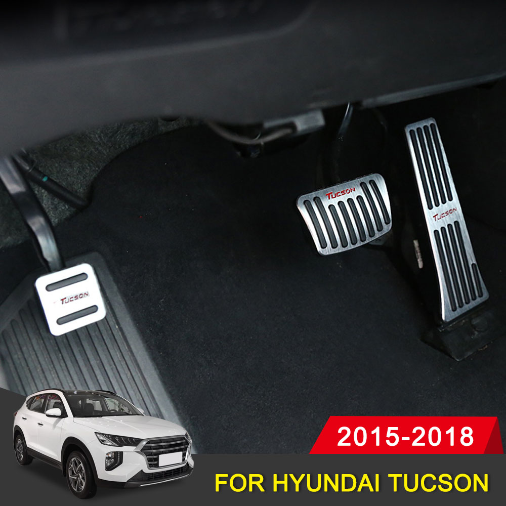 Accessories <font><b>For</b></font> <font><b>Hyundai</b></font> <font><b>Tucson</b></font> 2018 2017 2016 2015 Non Drilling Logo Car Accelerator Gas Fuel Brake Pedal Cover <font><b>Case</b></font> Car Styling image