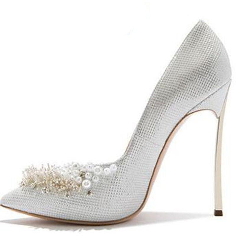 Haute Pointu jaune 2017 Clair or Perles 12 Femme De Hauts Sexy Femmes Pompes Mariage Bout Chaussures argent Marque Or Cm Talons 1Rp7xq16