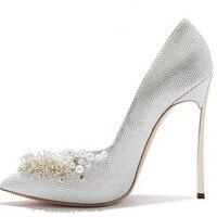 2017 marke Frauen Gold Perlen Hochzeit Schuhe High Heels Frauen Pumpt 12 CM High Heels Spitz Schuhe Frau Sexy pumpen