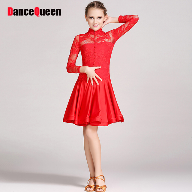 76f42a00351d8 Beauty Latin Dance Dresses For Blue Red White S-XXXL Size School Girl Rehearsal  Dress Kids Vintage Ballroom Play Clothes I095