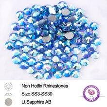 SS3-SS30 Light Sapphire AB Nail Art Non Hotfix Rhinestones Shiny Flatback Round Strass 1440pcs