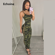 21cec91436d2 Camouflage Sleeveless Bodycon Spaghetti Strap Jumpsuit Sexy Lace Up Female  Club Outfit Romper Jumpsuit Overall Camo