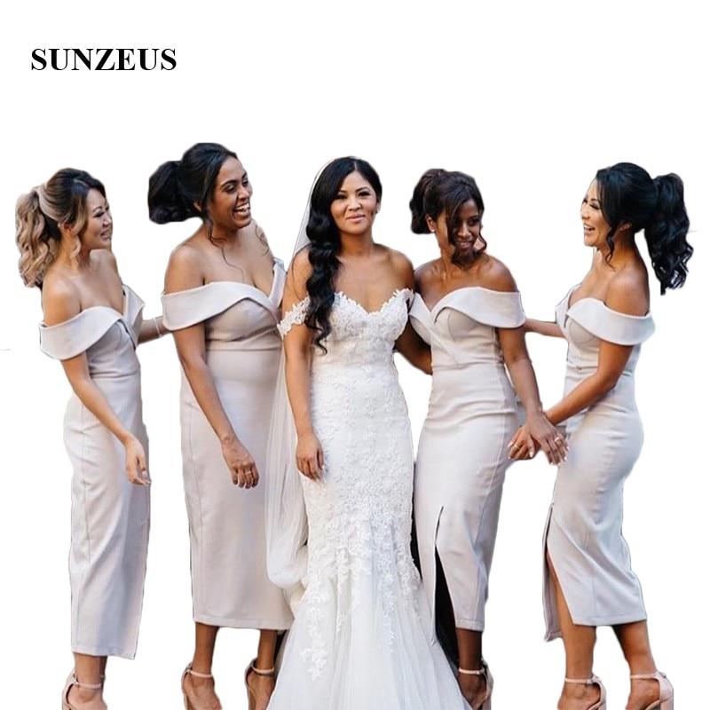 Tea-Length Satin   Bridesmaid     Dresses   2018 Sweetheart Wedding Party   Dress   for Girls Leg Slit vestidos de madrinha SBD59