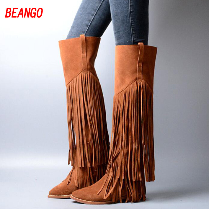 BEANGO 2017 New Fashion Winter Women Boots  Fringe Over-the-Knee Boots Top Quality Pointed Toe Flat heels Casual Shoes Women