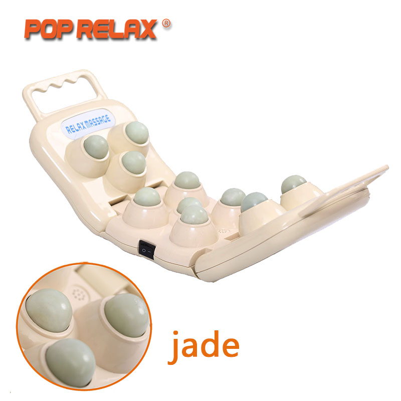 POP RELAX 11 Balls Real Jade Roller Massager Projector LED Photon Light Infrared Knee Pain Relief Therapy Device Body Heater pop relax electric vibrator jade massager light heating therapy natural jade stone body relax handheld massage device massager