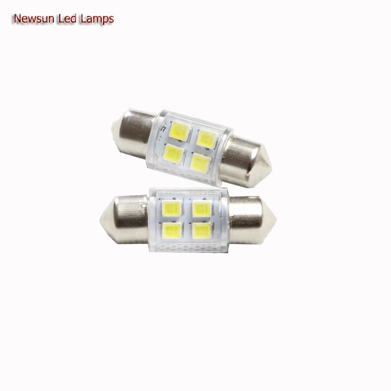 Newest Price 2PCs 31MM 4Led <font><b>3825</b></font> Car Interior Dome Festoon <font><b>Led</b></font> Light Lamp White With Cover 12V License Number Plate Lamp Bulbs