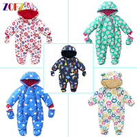 ZOFZ Cute Baby Rompers For Girls Winter Warm Boys Jumpsuit Fashion Print Full Sleeve Babies Clothing