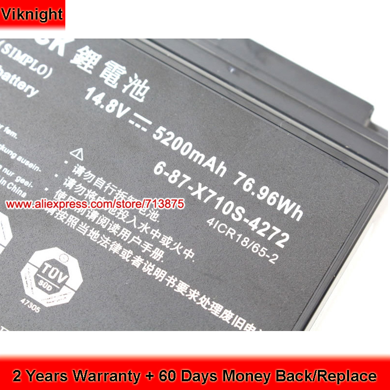 P170SM Battery for Clevo P150HMBAT-8 6-87-X710S-4273 14.8V 5200mAh 76.96Wh clevo p150hmbat 8 battery for p150em 6 87 x510s 4d72 6 87 x510s 4d73 x510s eon17 s clevo laptop batteries