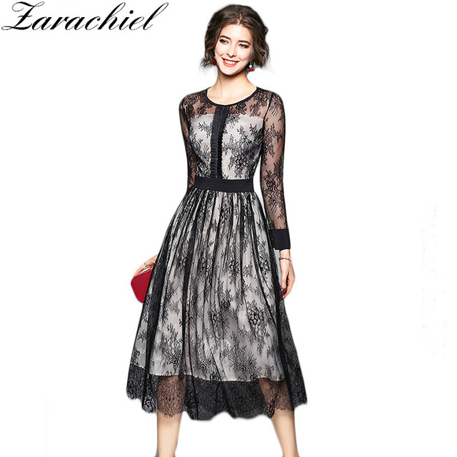 ed814835f5 Zarachiel Black Lace Dress 2019 Spring Runway Designer Women Casual O Neck  Sexy Hollow Out Patched