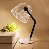 3D Effect LED Table Lamp Stereo Vision Desk Lighting Lampshade Night Light USB Plug For Reading Bedroom Living Room