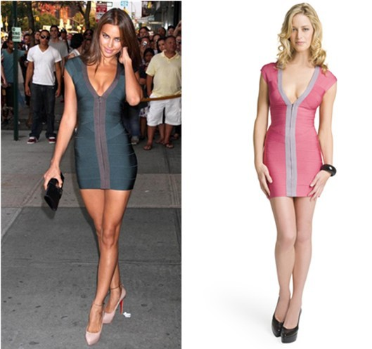 Brand New Rayon Bandage Dress <font><b>2015</b></font> <font><b>Sexy</b></font> Sleeveless Irina Shayk Trendy V Neck Ladies Designer Knitted Bodycon HL Bandage Dress image