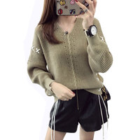 Ebizza 2017 Autumn Winter Lace Up Drawstring Women Sweater Casual Long Sleeve Oversize Pullover Jumpers Collar