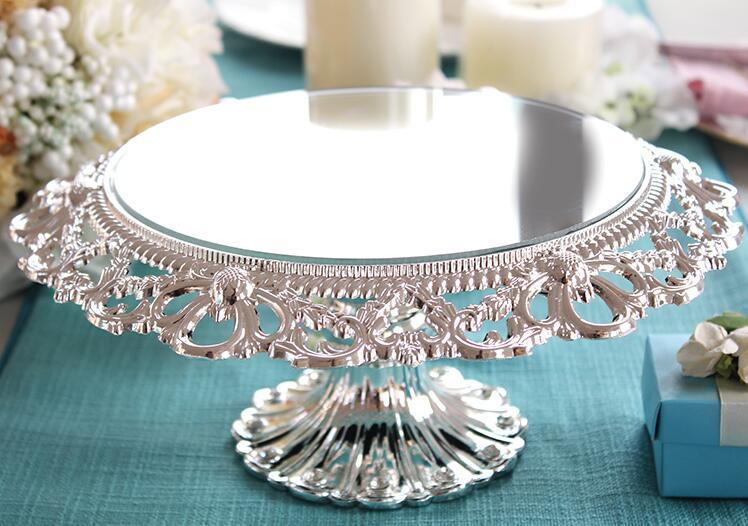 Round Diamante Jewelled Mirrored Decorative Tray//20cm