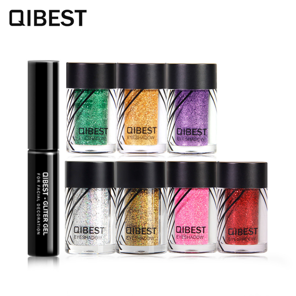 Qibest Brand Pro Makeup Set Glitter Eye Shadow Face Eyes Lips Nails Shimmer Glitter Powder & Glue Waterproof Colorful Laser Eye Shadow
