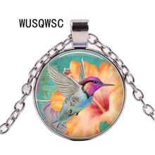WUSQWSC 2018 new hummingbird necklace hummingbird pendant bird jewelry glass photo cabochon necklace hummingbird hummingbird ранец ортопедический 50тк super big trucks
